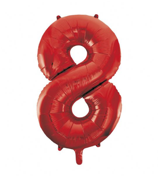 Red Number 8 Foil Balloon